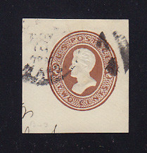U134 2c Brown on White, die 4, Used Cut Square, 38 x 42
