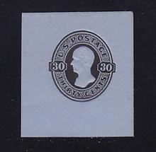 U208 30c Black on Blue, Mint Cut Square, 45 x 50