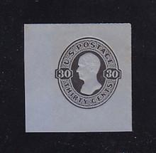 U208 30c Black on Blue, Mint Cut Square, 42 x 42