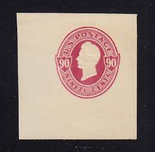 U214 90c Carmine on Oriental Buff, Mint Cut Square, 41 x 44
