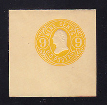 U67a 9c Orange Yellow on Buff, Mint Cut Square, 50 x 50