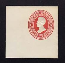 UO32 2c Vermillion on White, Mint Cut Square, 50 x 50