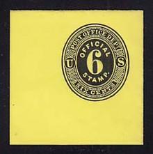 UO4 6c Black on Lemon, Mint Full Corner, 50 x 50