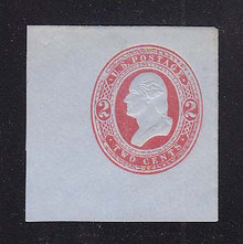 U245 2c Red on Blue, Mint Cut Square, 45 x 46