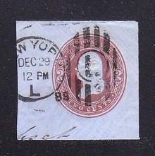 U290 2c Brown on Blue, die 2, Used Cut Square, 45 x 43