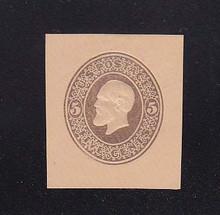 U224 5c Brown on Oriental Buff, Mint Cut Square, 34 x 39