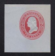 U238 2c Red on Blue, Mint Full Corner, Horizontally Laid Paper, 50 x 50