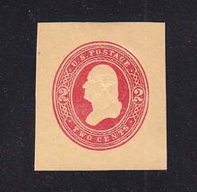 W287 2c Red on Manila, die 1, Mint Cut Square, 37 x 41