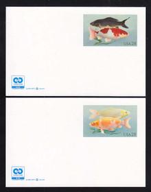 UX555 & UX556 UPSS # S569Aa & S570Aa 28c Koi Fish w/ 2C2 Logo, Mint Postal Cards