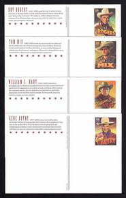 UX597-600 UPSS # S611-14 28c Cowboys Mint Postal Cards