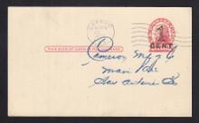 UX35 UPSS# S47-1, Washington Press Printed Surcharge, Used Postal Card