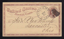 UX3 UPSS# S2j 1c Liberty Head, UNWATERMARKED Used Postal Card, PF Certificate