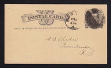 UX4 UPSS# S3 1c Liberty Head, Small Watermark Used Postal Card