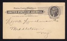 UX14 UPSS# S17e 1c Thomas Jefferson, Black on Buff, Dent in Portrait, Used Postal Card