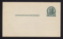 UX27D UPSS# S39 1c Thomas Jefferson, Dark Green on Grayish Clean Face Postal Card