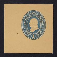 U304 1c Blue on Amber Manila, Mint Full Corner, 50 x 50