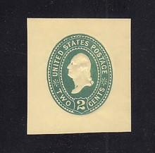 U306 2c Green on Amber, die 1, Mint Cut Square, 39 x 42