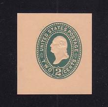 U320 2c Green on Oriental Buff, die 3, Mint Cut Square, 39 x 42
