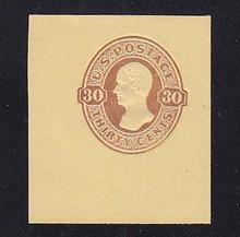 U341 30c Red Brown on Amber Manila, Mint Full Corner, 43 x 50