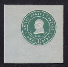 U382 1c Green on Blue, Mint Full Corner, 50 x 50