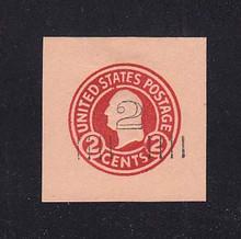 U456a 2c on 2c Carmine on Oriental Buff, die 5, Mint Cut Square, 39 x 39