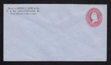 U233 UPSS # 677-6 2c Red on Blue, Mint Entire, CC