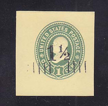 U489 1 1/2c on 1c Green on Amber, Mint Cut Square, 39 x 42