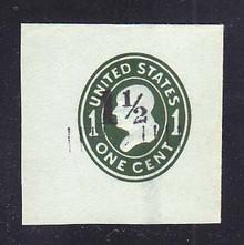 U493 1 1/2c on 1c Green on Blue, die 4, Mint Full Corner, 46 x 46