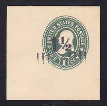 U488 1 1/2c on 1c Green on White, Mint Full Corner, 50 x 50