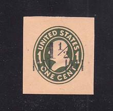 U492a 1 1/2c on 1c Green on Oriental Buff, die 4, Mint Cut Square, 36 x 39