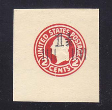 U520 1 1/2c on 2c Carmine, die 1, Mint Cut Square, 44 x 47