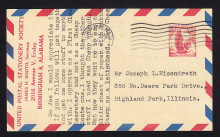 UXC3a UPSS# SA3a 5c Eagle, red and blue Border, 2nd and 4th Lozenges at left Purple, USED Postal Card