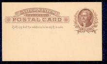 UX8 UPSS# S7 1c Thomas Jefferson, Brown on Buff Mint Postal Card