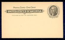 UX14 UPSS# S17 1c Thomas Jefferson, Black on Buff Mint Postal Card
