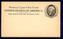 UX15 UPSS# S19 1c John Adams, Black on Buff, Library Mint Postal Card