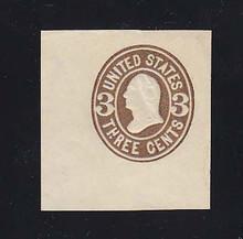 U60 3c Brown on White, Mint Cut Square, 40 x 42