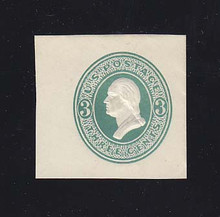 U159 3c Green on White, die 1, Mint Cut Square, 93 x 37