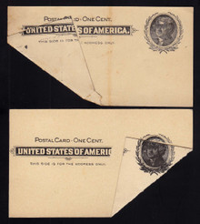 UX14 UPSS# S17 1c Thomas Jefferson, Black on Buff 2 Mint Postal Cards with DRAMATIC Fold Overs