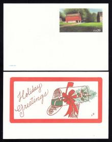 UX198 UPSS# S212b 20c Red Barn-Holiday Greetings Mint Postal Card