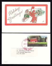 UX198 UPSS# S212b 20c Red Barn-Holiday Greetings USED Postal Card