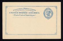 "UX13 UPSS# S16 2c Blue Liberty Head, Large Border, Large Border, International Mint Postal Card, Minor Corner ""Bumps"""
