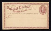 UX3 UPSS# S2 1c Liberty Head, Small Watermark Mint Postal Card, MISCUT