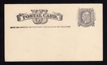 "UX5 UPSS# S4 1c Liberty Head, ""Write the addr.... Mint Postal Card, Left printing blurred"