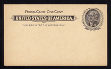 "UX14 UPSS# S17 1c Thomas Jefferson, Black on Buff Mint Postal Card, Large ""Blotches"" in Stamp"