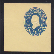U304 1c Blue on Amber Manila, Mint Cut Square, 47 x 47