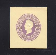 U343 90c Purple on Amber, Mint Cut Square, 38 x 42