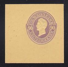 U347 90c Purple on Amber Manila, Mint Cut Square, 50 x 50