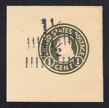 U495d 1 1/2c on 1c Green on White, die 1, Mint Full Corner, Double Surcharge