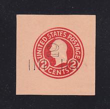 U456a 2c on 2c Carmine on Oriental Buff, die 5, Mint Cut Square, 41 x 42