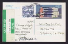UX168 UPSS# S181 19c Used Postal Card, CERTIFIED w/$1.00